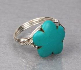 Turquoise Wire Wrapped Ring- Sterling Silver with Carved Howlite Flower Gemstone- Custom Made to Size
