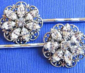 Wedding Hair Pins, Bridal Accessories, Flower Hair Pins, Set of 2, Crystal Hair Piece, Crystal Flower Hair Clips
