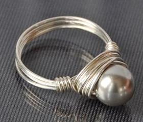 Sterling Silver Wire Wrapped Light Grey Swarovski Pearl Ring- Custom Made to Size