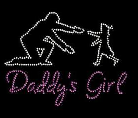 Rhinestone Transfer Daddys Girl Rhinestone Iron On Bling 34047