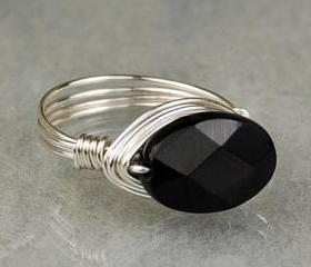Sterling Silver Wire Wrapped Ring- Oval Faceted Onyx Gemstone- Custom Made to Size