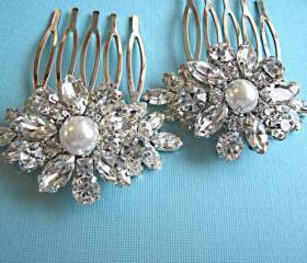 2 Wedding Hair Combs, Pearl Hair Piece, Bridal Hair Accessories, Crystal Flower Hair Accessories, Vintage Style Accessories