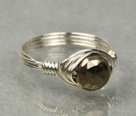 Wire Wrapped Sterling Silver Ring with Tiny Round Faceted Pyrite Gemstone- Custom Made to Size