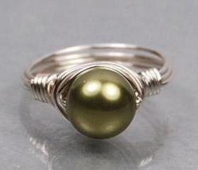 Wire Wrapped Sterling Silver Ring with Green Swarovski Pearl- Custom Made to Size