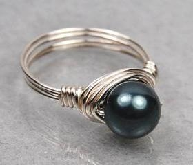 Wire Wrapped Sterling Silver Ring with Tahitian Blue Swarovski Pearl- Custom Made to Size