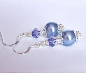 Tanzanite and Blue Vintage Earrings for Bridesmaids or Gift, Drop Pearl Earrings in Purple