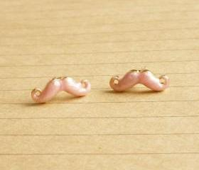 On SALE - Tiny Pale Pink Mustache Post Earrings - 14 mm - Gift under 10