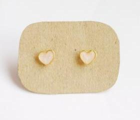 on SALE - Lil Lovely Milk White Heart Stud Earrings - 6 mm - Gift under 10