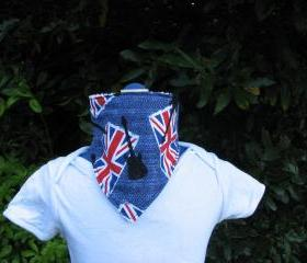 Union Jack rock guitar print dribble bib