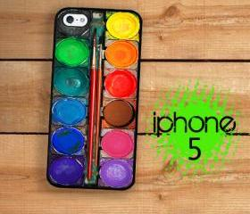 Watercolor Paint Box iPhone Hard Case, Fits iPhone 5 - Black Plastic Trim