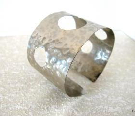 Silver Hammered Cuff with cut outs, unisex arm band