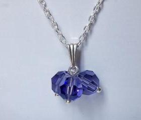 Purple Crystal Pendant - Swarovski Bridesmaid Jewelry - Tanzanite Crystal Pendant