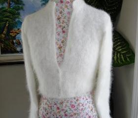 Kate Middleton Angora Bolero/ bridal bolero/ BLACK/WHITE/IVORY/ Size Small