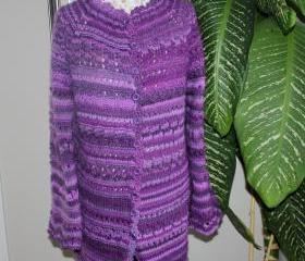 Ready to ship /Gorgeous Hand Knitted Luxury Mohair Aran Casual Style Sweater Cardigan Coat- Jacket