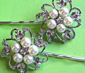 Wedding Hair pins, Bridal Accessories, Pearl Hair Pins, Pearl and Crystal, Bridesmaid Hair accessories, Pearl Blossom Coll