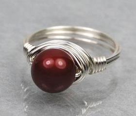 Wire Wrapped Sterling Silver Ring with Bordeaux Swarovski Pearl- Custom Made to Size