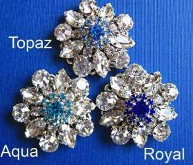 Wedding Hair Pins,3 choices, U pick, Blue Jewels, Royal, Aqua, Topaz Blue, Bobby Pins, Something Blue