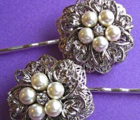 Wedding Hair Pins, Ivory Pearl Hair Piece, Filigree Flower, Bridal Bobby Pins, set of 2, Pearl Blossom Collection