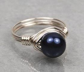 Wire Wrapped Sterling Silver Ring with Navy Blue Swarovski Pearl- Custom Made to Size
