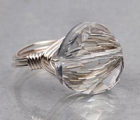 Wire Wrapped Sterling Silver Ring with Clear Twist Crystal- Custom Made to Size