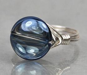 Wire Wrapped Sterling Silver Ring with Round Mystic Blue Iolite Quartz - Custom Made to Size