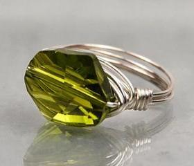 Sterling Silver Wire Wrapped Ring with Olivine Green Swarovski Crystal- Custom Made to Size