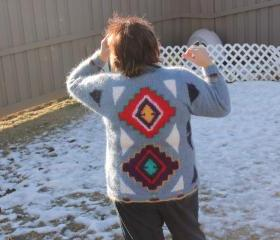 Ready to be shipped/ One of a kind Warm Grey Red Sweater / Handmade HandKnit Crew Neck, Long Sleeved / Unique Unisex/SIZE LARGE