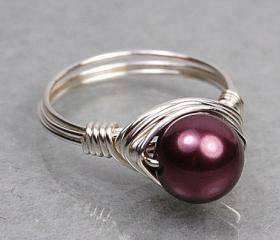 Wire Wrapped Sterling Silver Ring with Burgundy Swarovski Pearl- Custom Made to Size