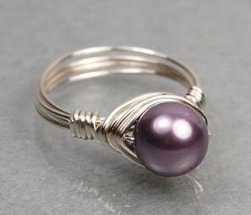 Wire Wrapped Sterling Silver Ring with Mauve Swarovski Pearl- Custom Made to Size