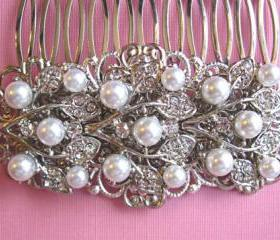 Wedding Hair Comb-Pearl Hair Comb -Pearl and Crystal Hair Accessories, Wedding Hair Accessory- Ivy Rose