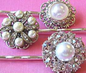 Wedding Hair Pins,Victorian style, Pearl Hair Accessories, Set of 3, Bridal Hair, Bridesmaids Hair sets