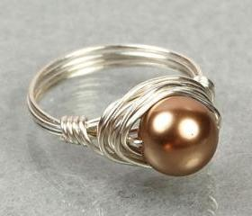 Wire Wrapped Sterling Silver Ring with Bronze Swarovski Pearl- Custom Made to Size