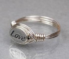 Sterling Silver Wire Wrap Ring with Oval LOVE Sterling Silver Bead - Custom Made to Size