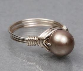 Wire Wrapped Sterling Silver Ring with Platinum Swarovski Pearl- Custom Made to Size