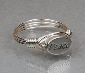 Sterling Silver Wire Wrap Ring with Oval PEACE Sterling Silver Bead - Custom Made to Size