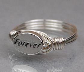 Sterling Silver Wire Wrap Ring with Oval FOREVER Sterling Silver Bead - Custom Made to Size