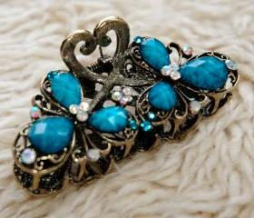 Turquoise Stones and Rhinestone Filigree Claw Clip