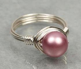 Wire Wrapped Sterling Silver Ring with Rose Pink Swarovski Pearl- Custom Made to Size