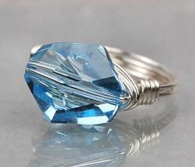 Sterling Silver Wire Wrapped Ring with Sky Blue Swarovski Crystal- Custom Made to Size