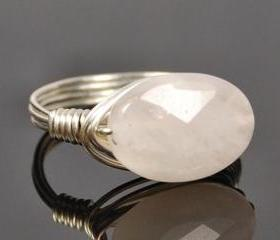 Sterling Silver Wire Wrapped Ring with Faceted Rose Quartz Gemstone- Custom Made to Size