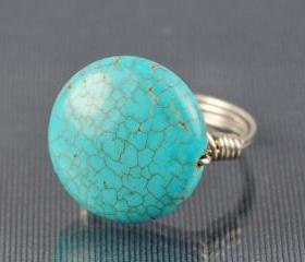 Round Turquoise Gemstone Ring - Sterling Silver Wire Wrapped - Custom Made to Size