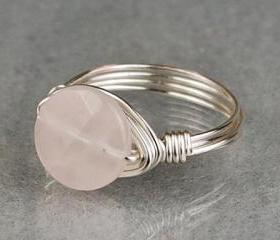 Sterling Silver Wire Wrapped Ring with Faceted Round Rose Quartz Gemstone- Custom Made to Size