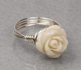 Sterling Silver Wire Wrapped Ring with Antique White Carved Gemstone Rose- Custom Made to Size