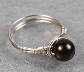 Wire Wrapped Sterling Silver Ring with Chocolate Swarovski Pearl- Custom Made to Size