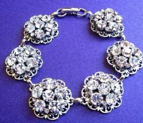 Wedding Jewelry, Bridal Bracelet, Brilliant Collection, Vintage style jewelry, Crystal Jewelry, Statement jewelry