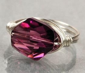 Sterling Silver Wire Wrapped Ring with Amethyst Purple Swarovski Crystal- Custom Made to Size