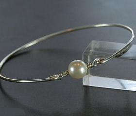 Pearl Bangle Bracelet- White Swarovski Pearl Bead and Sterling Silver Filled Wire- Custom Made to Size