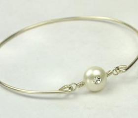 Sterling Silver Filled Bangle Bracelet with White Freshwater Pearl with Swarovski Crystal - Custom Made to Size