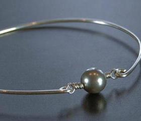 Bangle Bracelet- Light Grey Swarovski Pearl Bead and Sterling Silver Filled Wire- Custom Made to Size