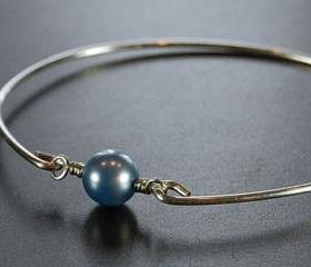 Sterling Silver Bangle Bracelet- Powder Blue Swarovski Pearl Bead and Sterling Silver Filled Wire- Custom Made to Size